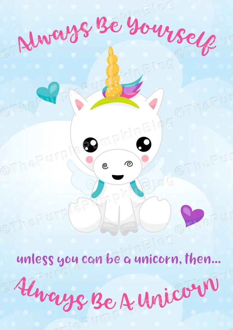 Free Printable Always Be A Unicorn prints in 2 sizes and 6 colors! Such a sweet print for the unicorn lover in your life! Print at home and display in a frame, or stick into your bullet journal! #nationalunicornday #alwaysbeaunicorn #freeprintables
