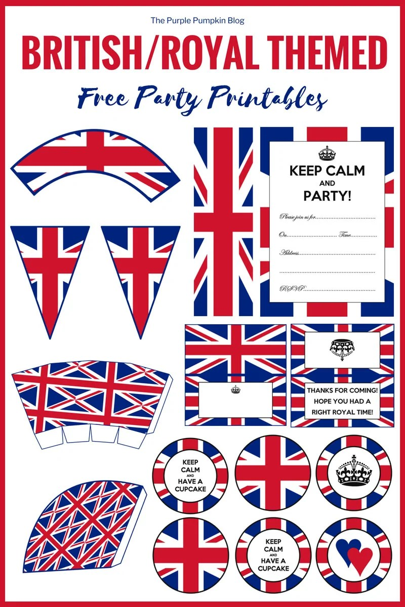 British/Royal Themed Free Party Printables! The next Royal Wedding might be decades away, but you can still celebrate in a right Royal style! You can print these free party printables for a British or Royal Themed Party! Included in this set of British/Royal Party Printables are: invitations, cupcake toppers, cupcake wrappers, food labels, bunting, and more!