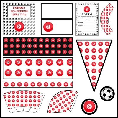 Tunisia - Football Party Printable Set