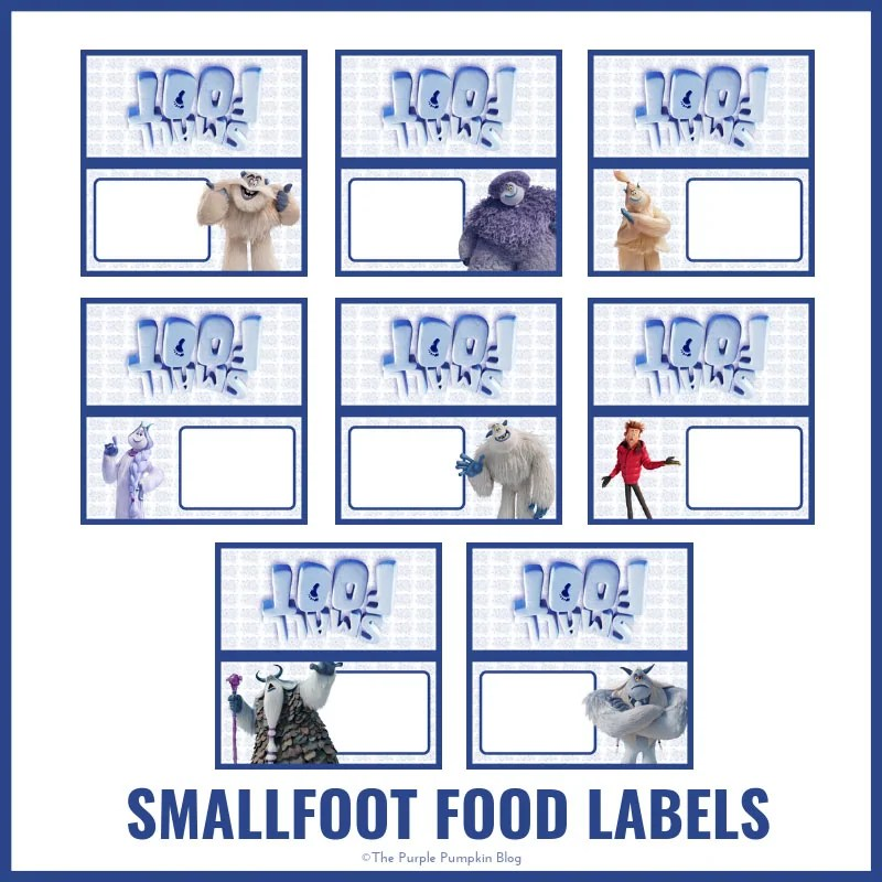 Smallfoot Party Food Labels