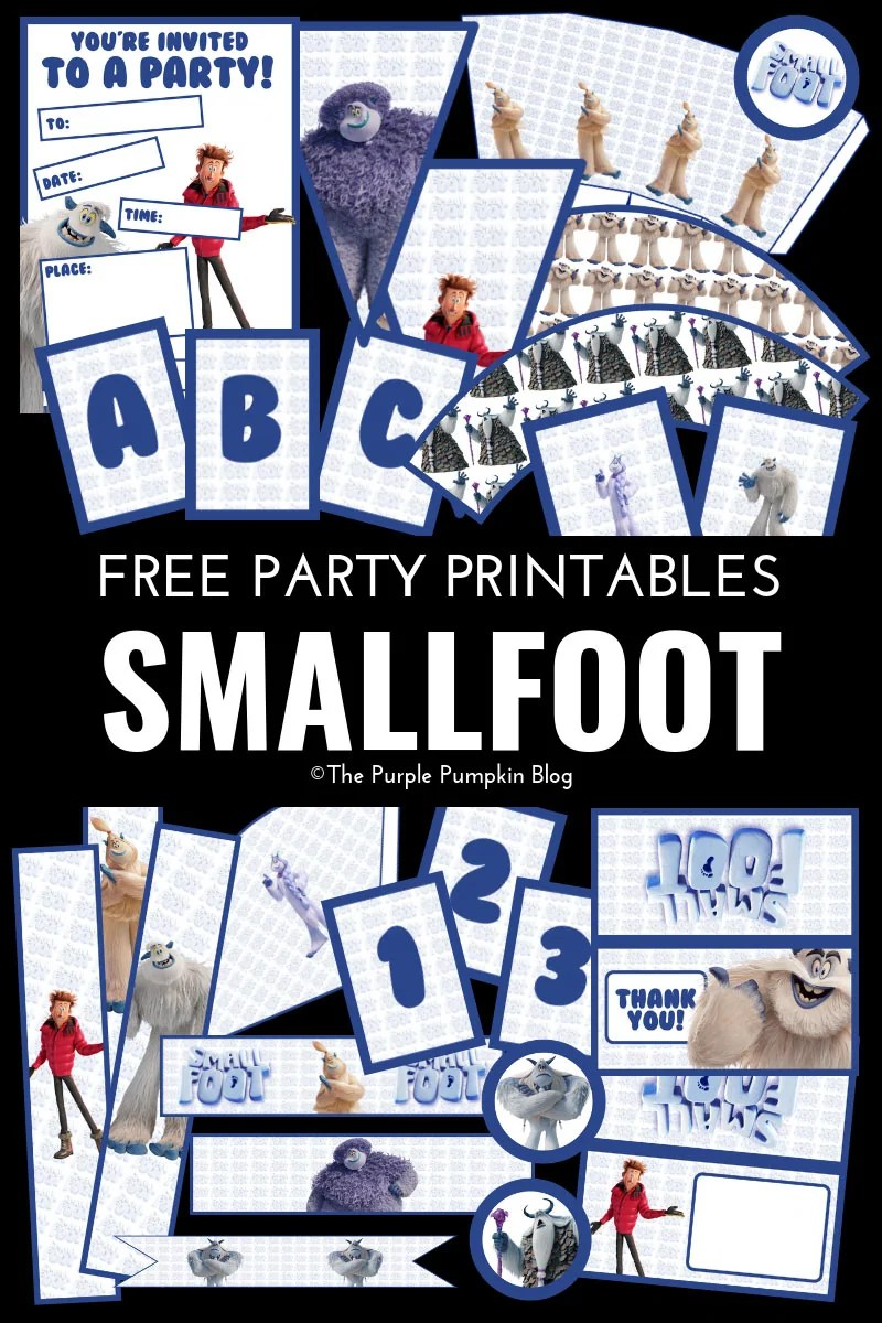 Smallfoot Party Printables! Everything you need to throw an awesome Smallfoot party can be downloaded for personal use! The free printables include party invitations, favor bag toppers, pennants, alphabet and number banner flags, popcorn boxes, treat cones, party food labels, paper chains, bottle wrappers, napkin rings, straw flags, cupcake toppers, and cupcake wrappers – it's the motherload of Smallfoot party printables!