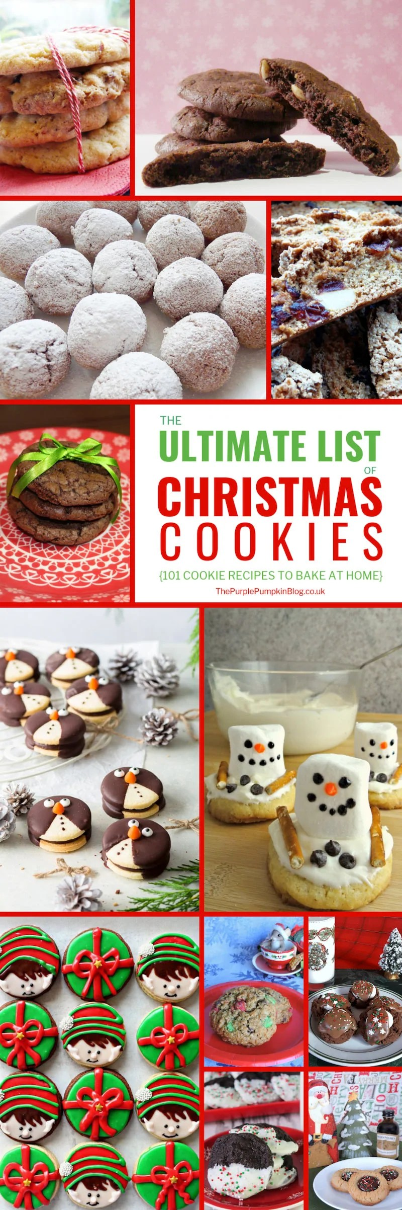 The ultimate list of Christmas cookies, with 101 Christmas cookie recipes to bake at home! So if you are a regular cookie maker, or only put your baking hat on during the Holidays, this list of Christmas cookie recipes has plenty to keep you busy all season long. I'm sure family and friends will thank you too! #ChristmasCookies #CookieRecipes #ChristmasRecipes