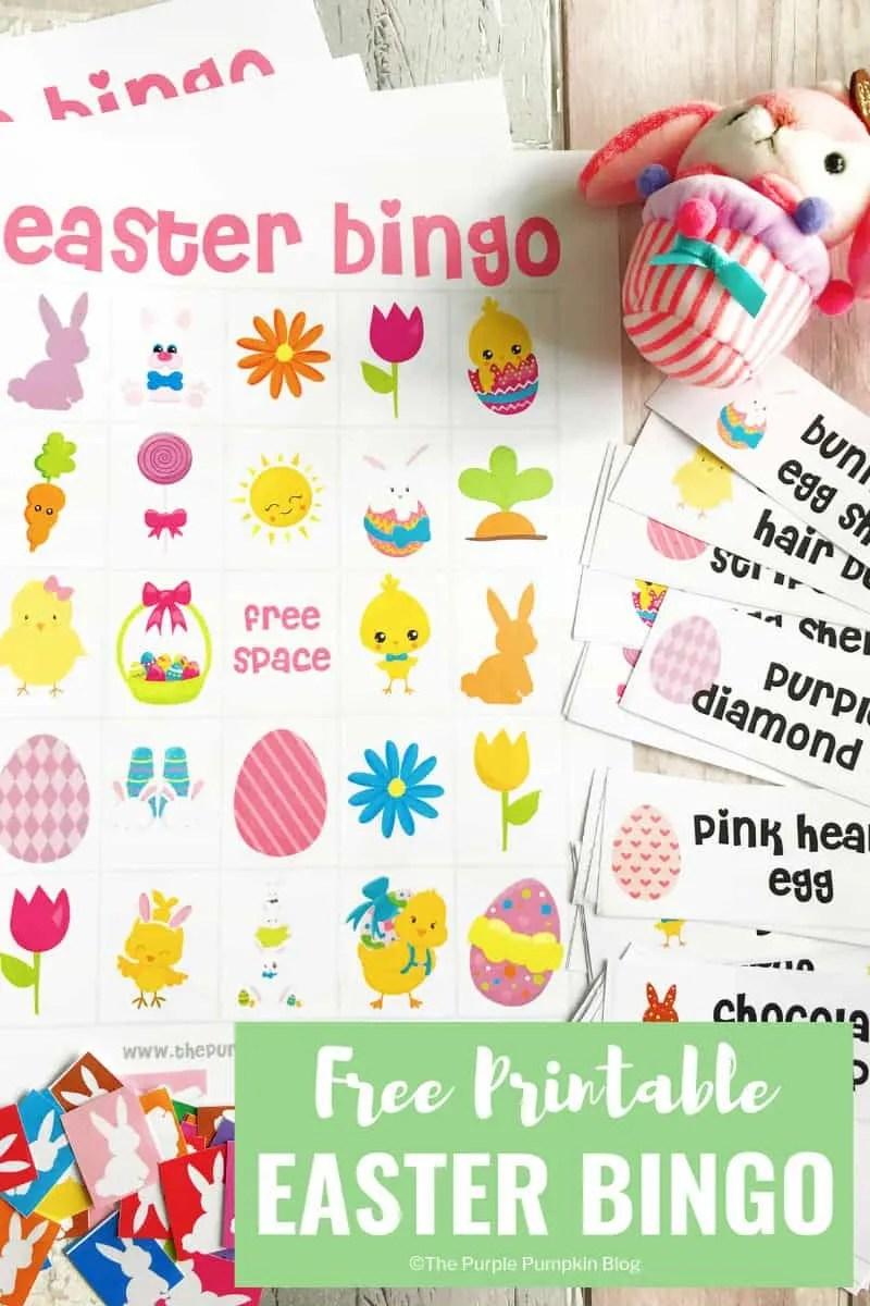 This Free Printable Easter Bingo Game has everything you need to play a fun game of bingo with the kiddos this Easter! #EasterBingo #FreePrintables #EasterPrintables #ThePurplePumpkinBlog #EasterBingoPrintable #BingoGame