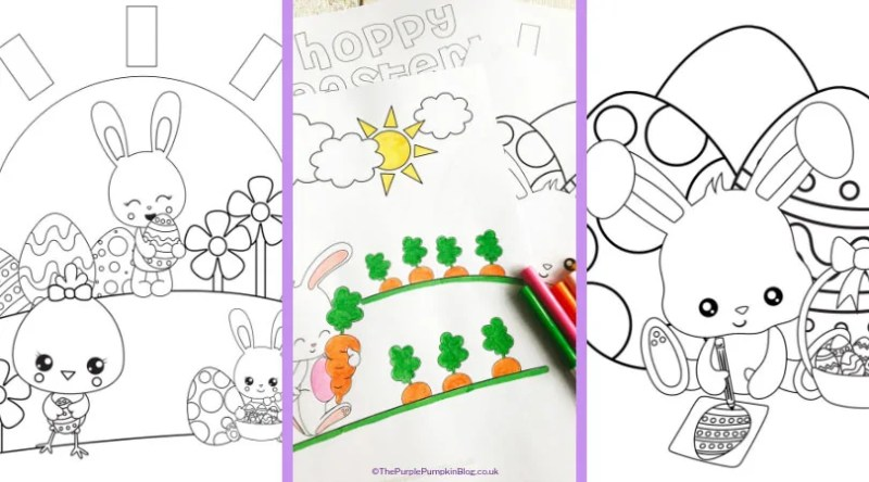 Keep the kids occupied while they are waiting for a visit from the Easter Bunny with these Free Printable Easter Bunny Coloring Pages. These Easter colouring pages are just adorable - kids and grown-ups alike will love to color them in! Print as many as you need, and use your favourite art supplies - markers, crayons, pencils, or paints to bring them to life. #EasterBunnyColoringPages #EasterColoringPages #ThePurplePumpkinBlog