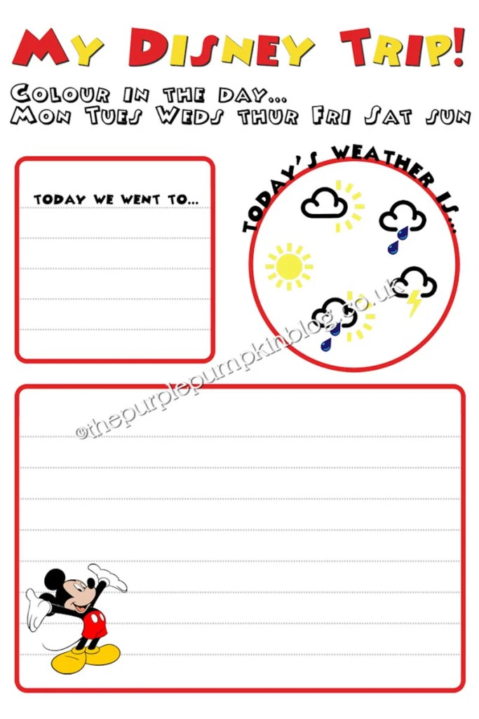 Kid's Disney Diary Printable