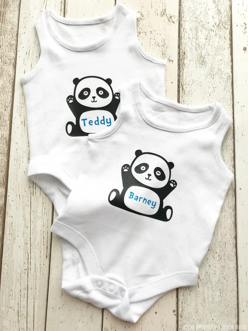 Baby Sleeveless Bodysuits - decorated with iron-on vinyl cut with Cricut Maker and transferred with EasyPress 2