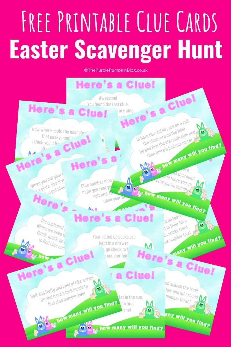 graphic regarding Clue Cards Printable called Totally free Easter Scavenger Hunt Printables