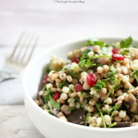 Giant Couscous Salad with Roasted Aubergine, Parsley & Pomegranate