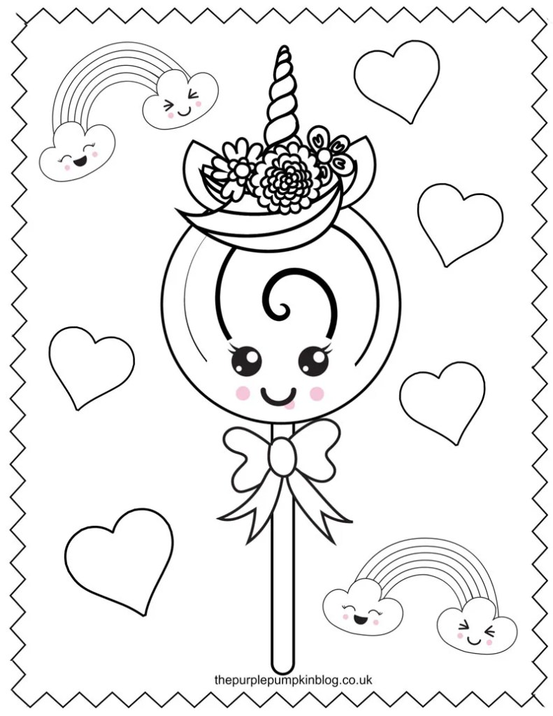 Unicorn Lollipop Coloring Page