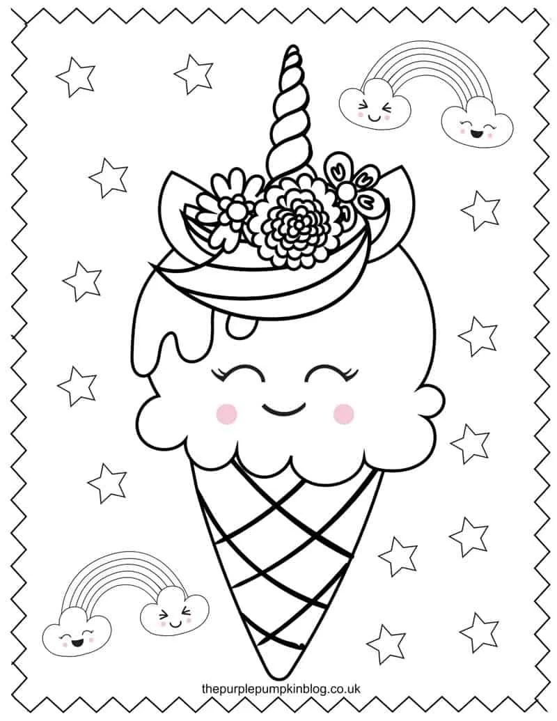 Ice Cream Cone Unicorn Colouring Sheet
