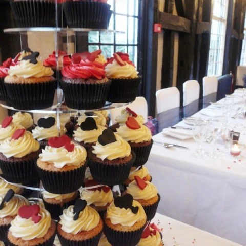 Black, Red & White Heart Wedding Cupcakes