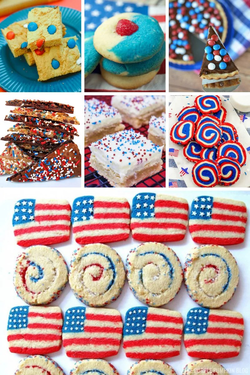 A collage of red, white, and blue cookies for 4th of July