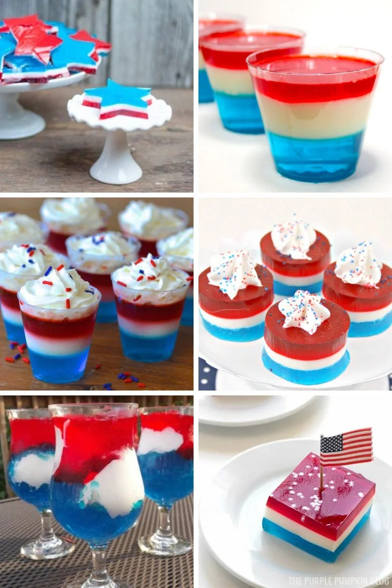 A collage of red white and blue jello desserts