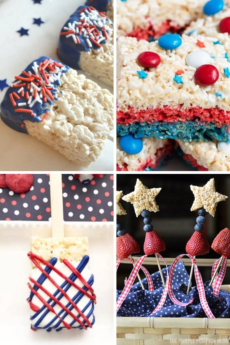 A collage of red-white-and-blue Rice Krispies Treats for 4th of July