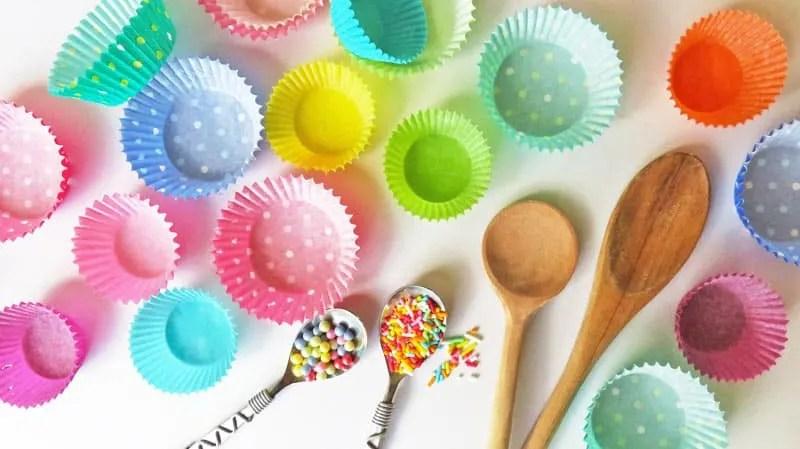 Cupcake liners and sprinkles