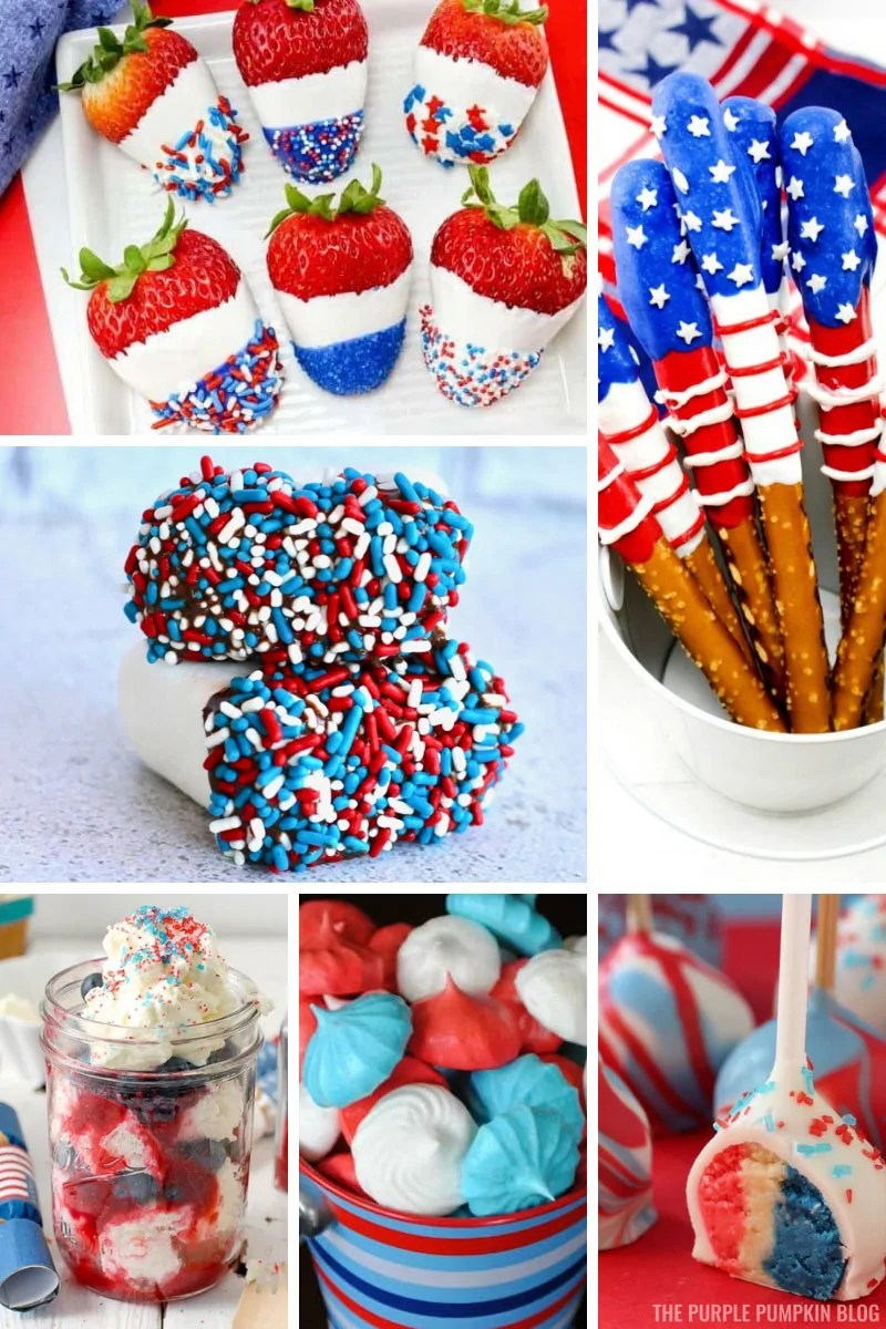 A collage of Patriotic red white and blue desserts.