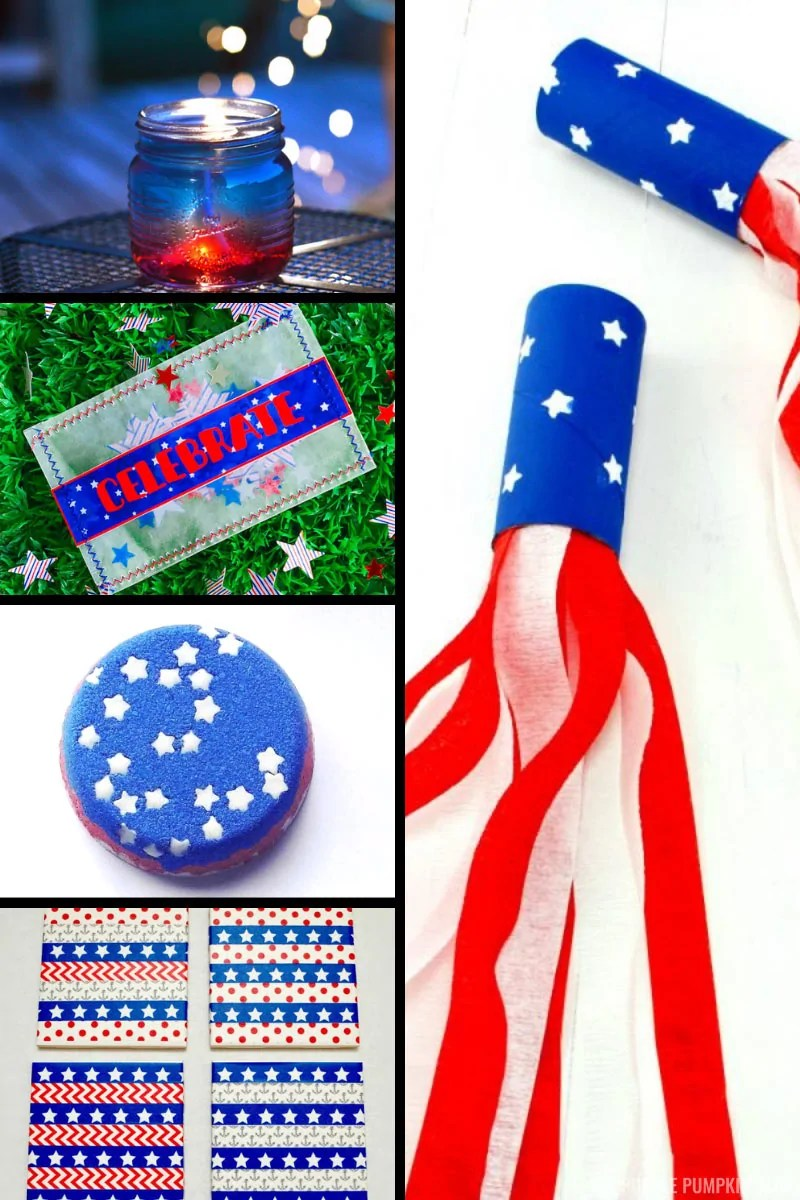 Pictures of patriotic, red, white, and blue craft projects