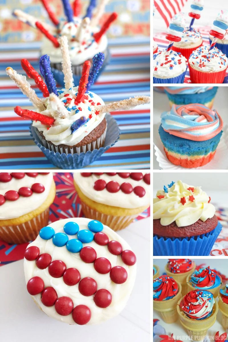 A collage of 6 red, white, and blue cupcakes