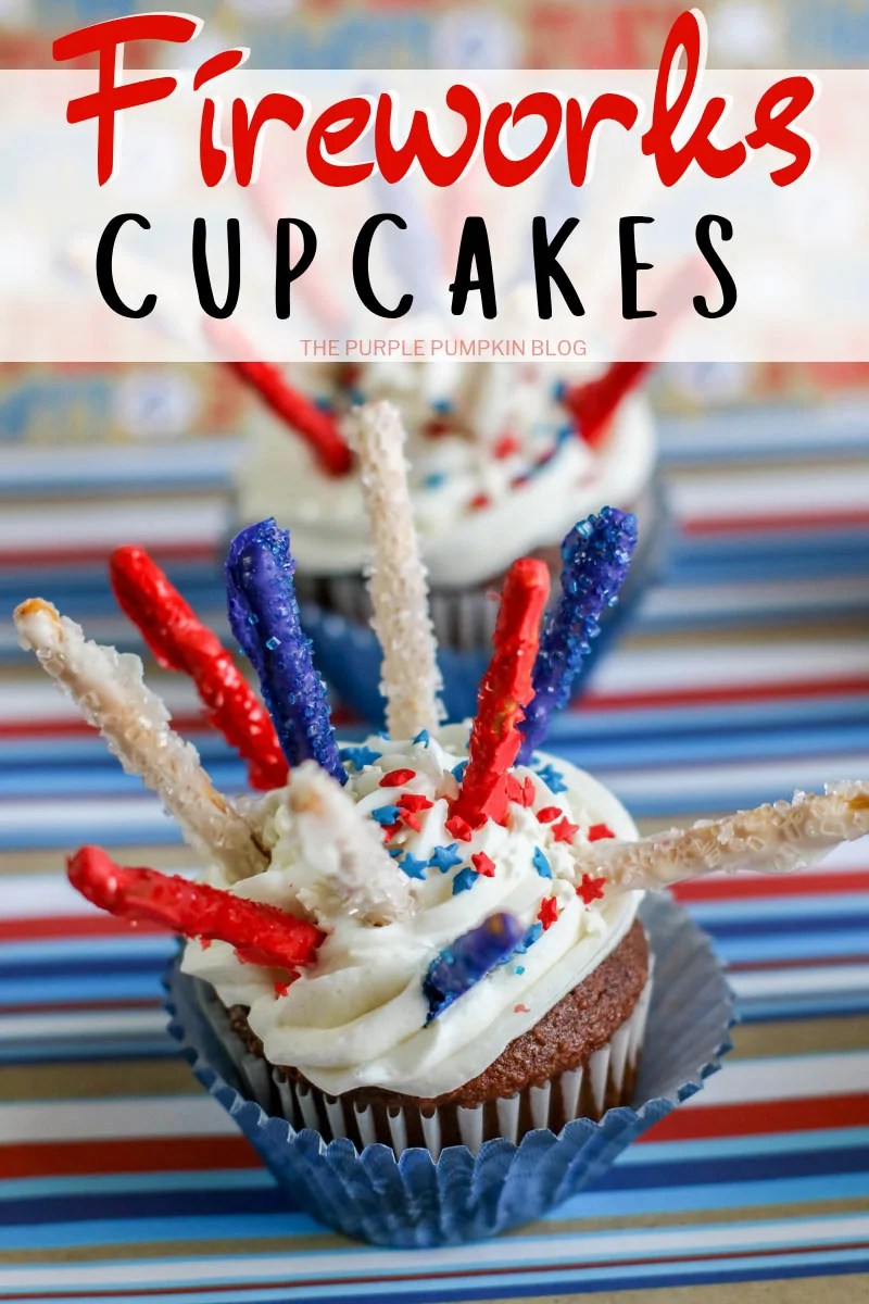 Patriotic fireworks cupcakes with candy fireworks and star shaped sprinkles.