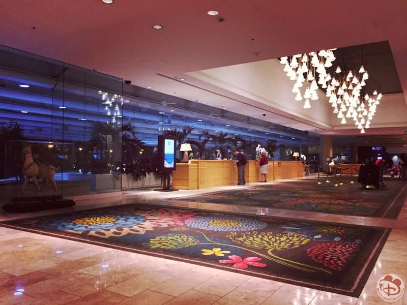 The lobby of the Hyatt Regency Orlando International Airport Hotel