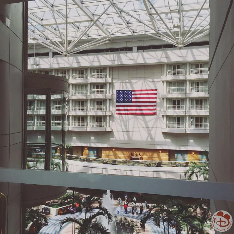 American flag hanging at Orlando International Airport