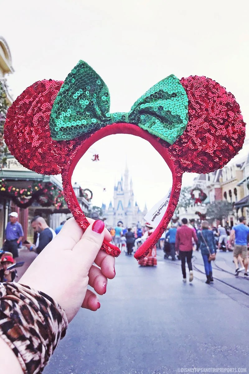 Red and green sequin Minnie Mouse Ears