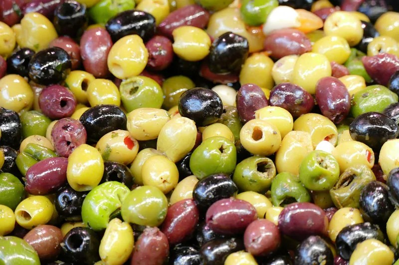 A selection of green and black olives
