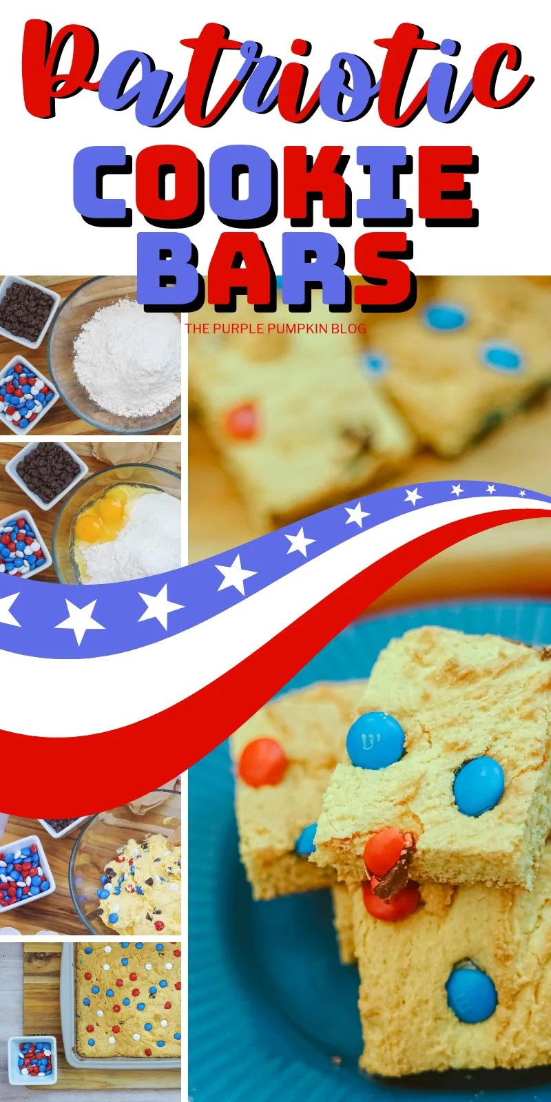Cookie bars with red, white and blue candy