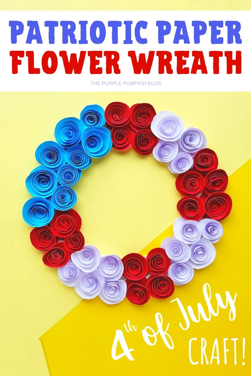 Patriotic Paper Flower Wreath with red, white and blue paper flowers, on a yellow background.