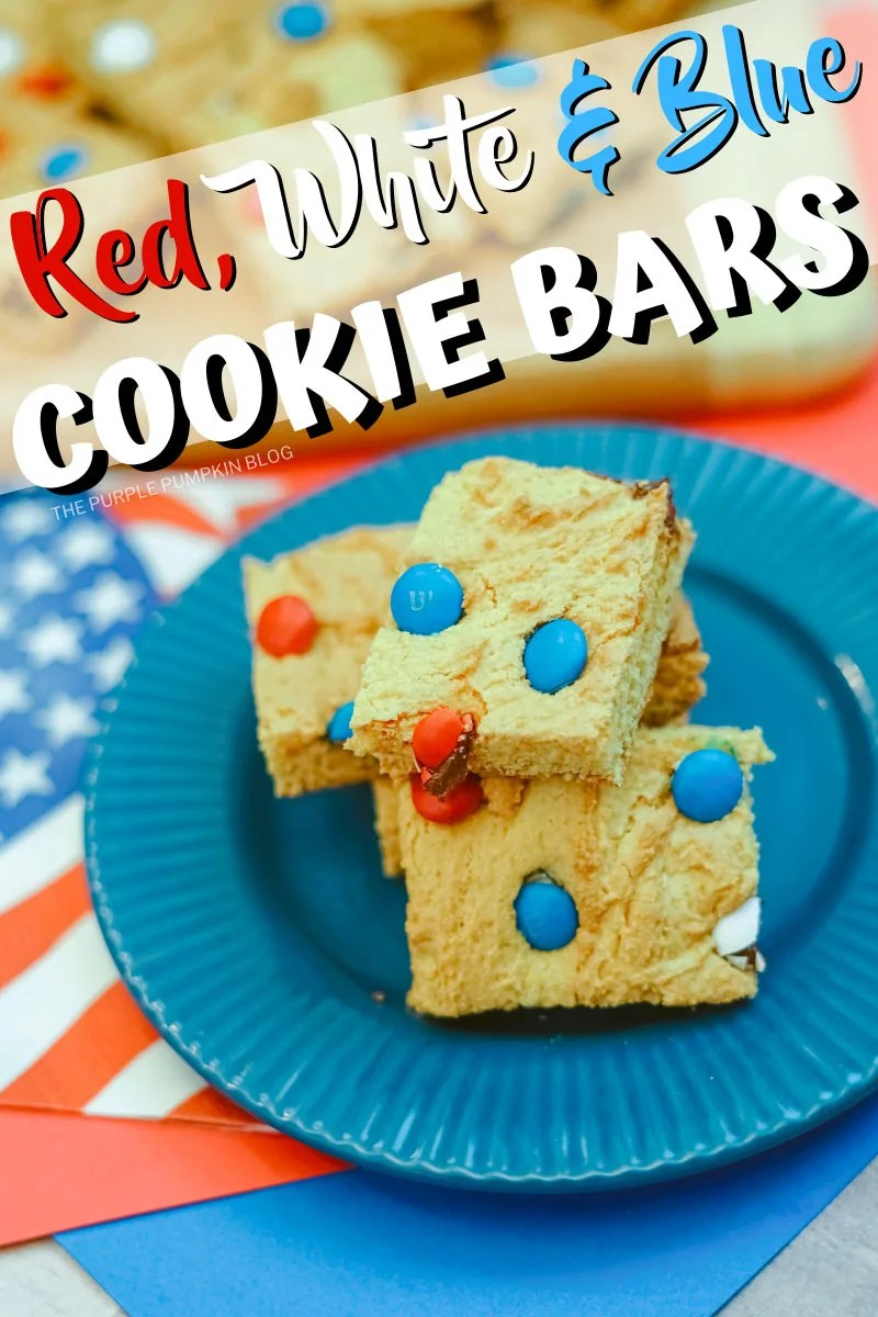 A blue plate with red, white & blue cookie bars