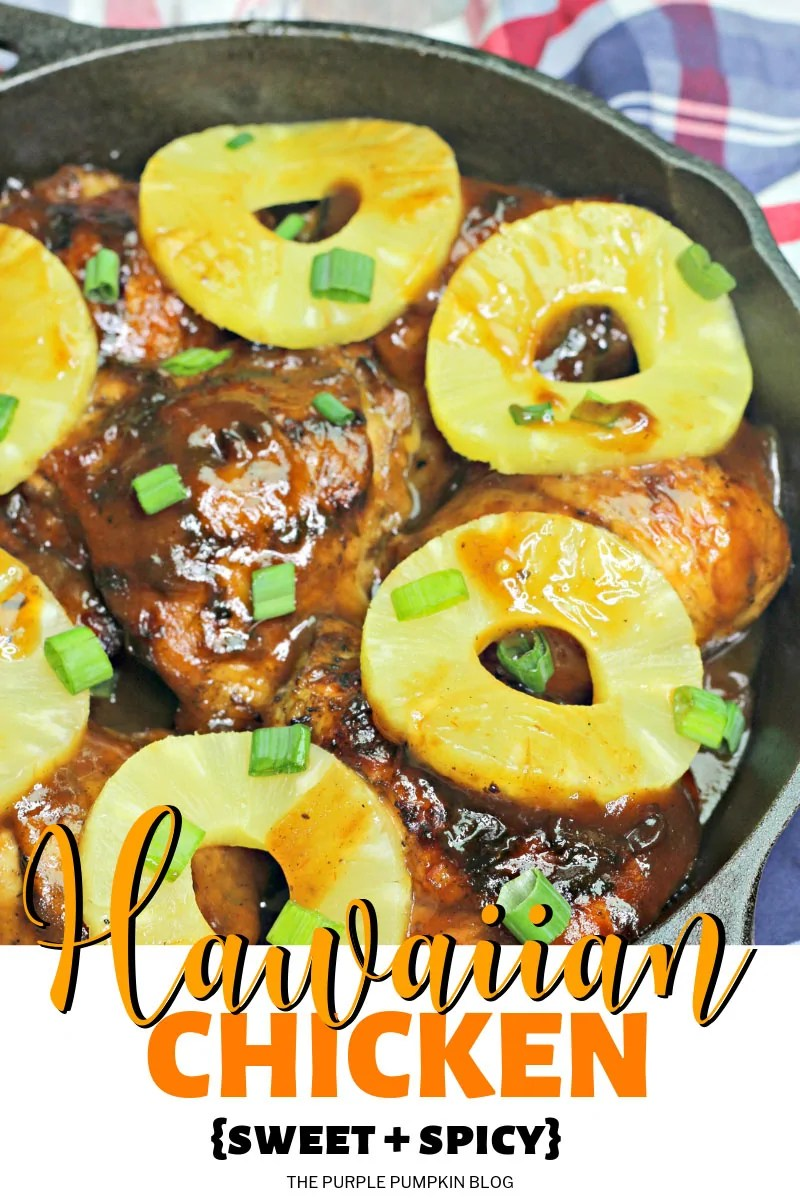 Hawaiian chicken in a skillet with pineapple rings on top.
