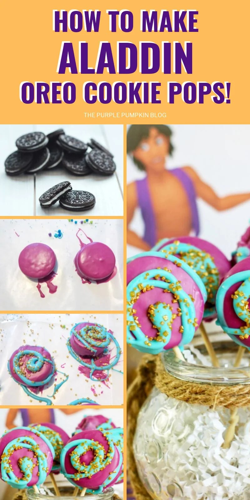 Multiple images showing the steps to making aladdin oreo cookie pops