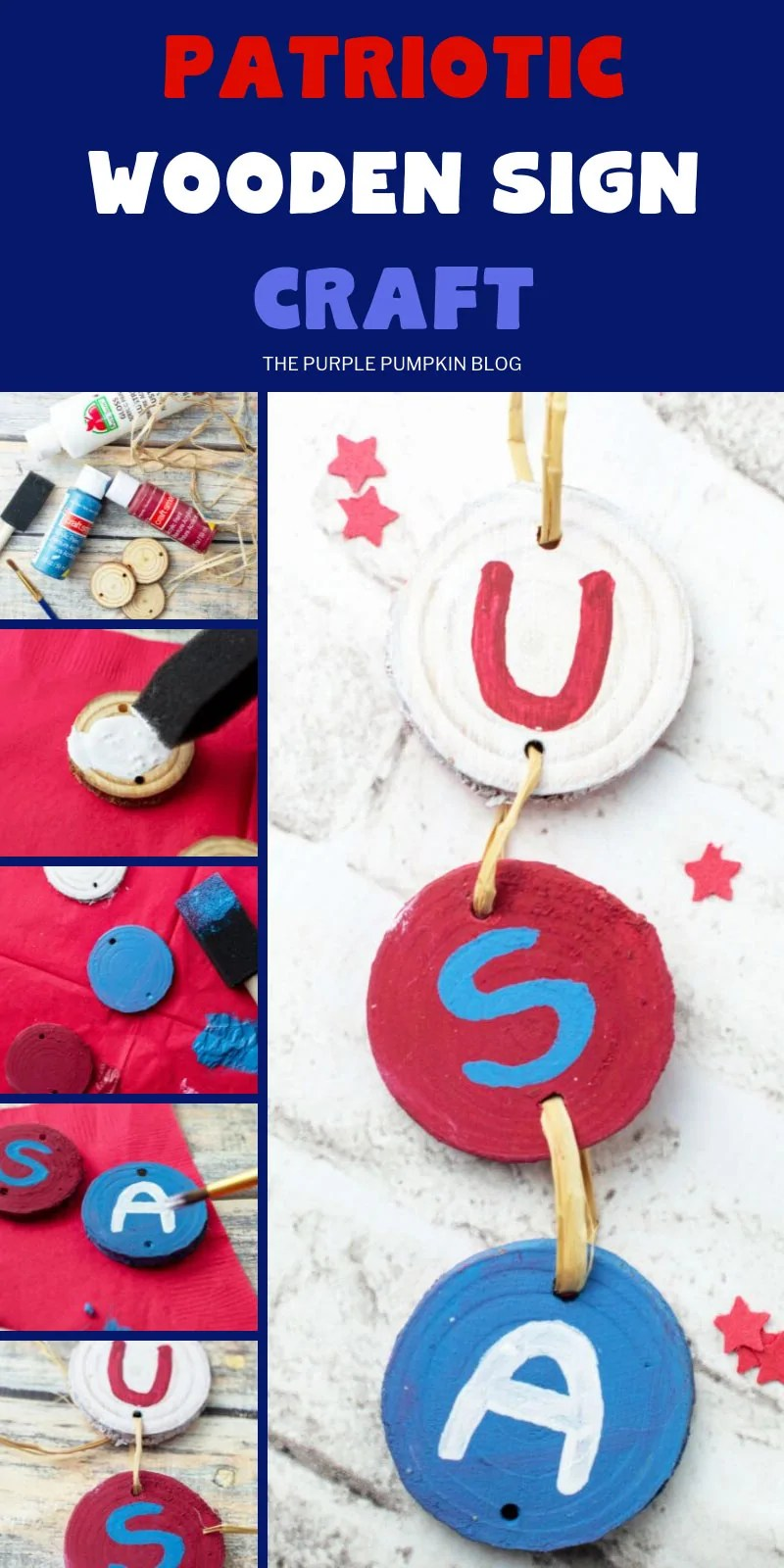 USA Wooden hanging sign with step-by step photographs