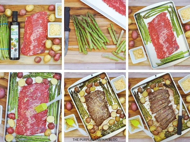 Collage of step-by-step photos showing how to make sheet pan steak dinner with asparagus and potatoes