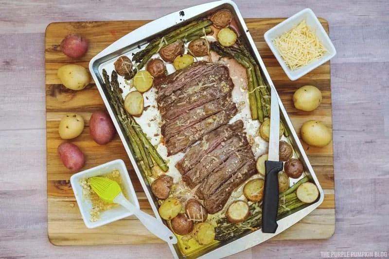 Sliced steak on sheet pan