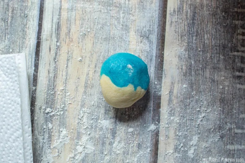 ball of white and blue cookie dough