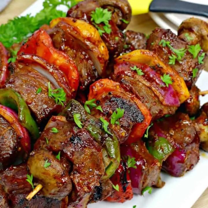 Sweet & Spicy Bourbon Steak Kebabs