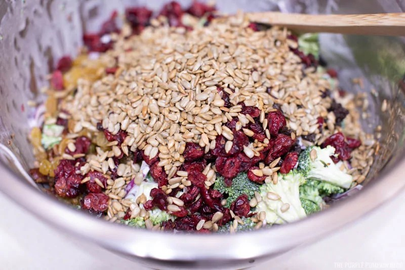 Dried Cranberries and Sunflower Seeds added to broccoli salad