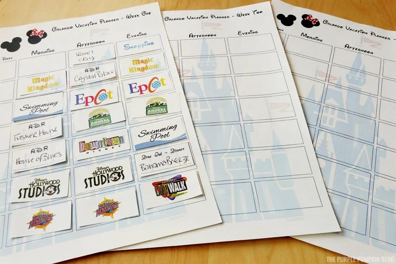 Disney Vacation Planner Printables