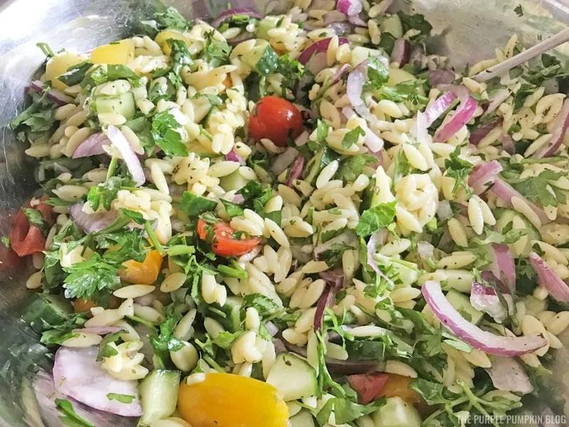 Mixed orzo salad