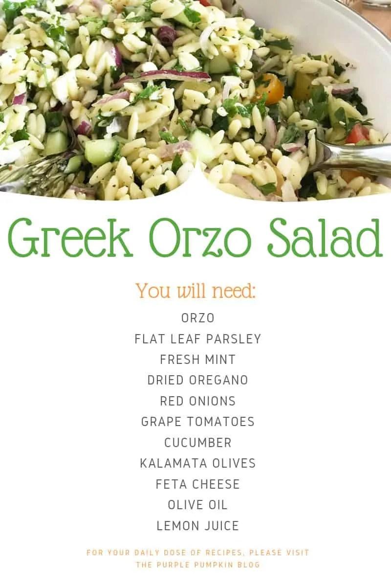 Greek orzo salad ingredients