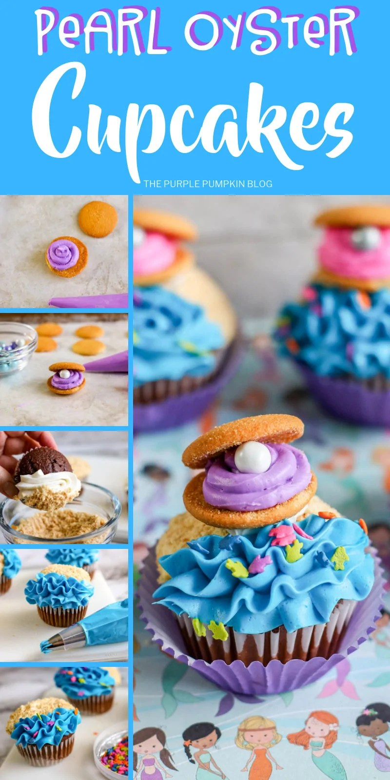 Pearl Oyster Cupcakes with step-by-step pictures.