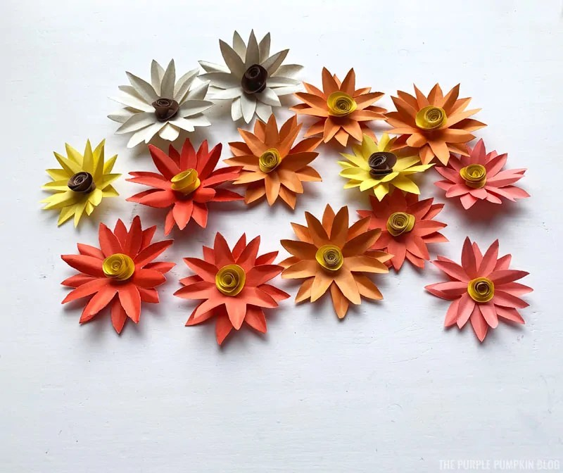 Assorted paper fall flowers