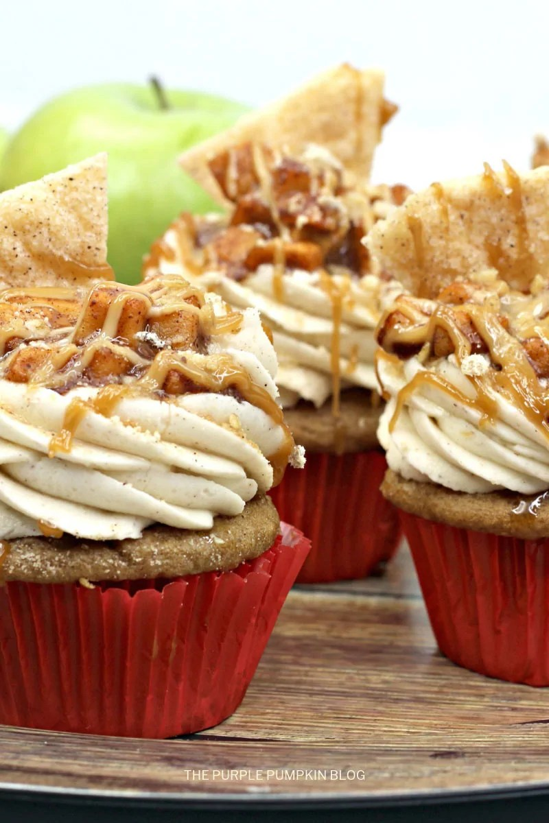 Apple pie cupcakes with pie crust topping