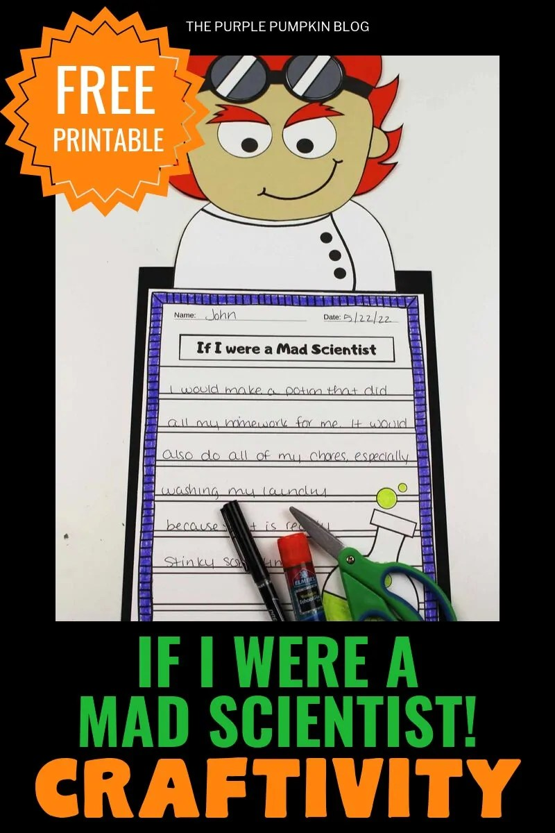 "Free Printable ""If I Were A Mad Scientist"" Craftivity"