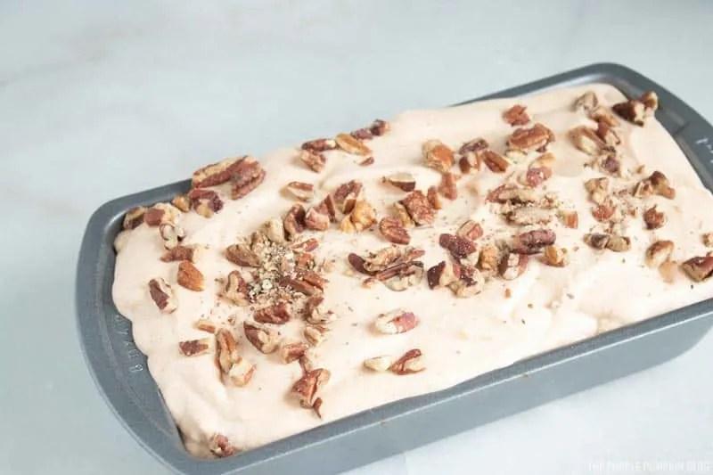 Pumpkin Ice Cream ready to go in freezer.
