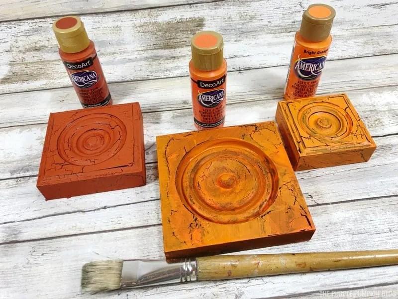 Painting Blocks with Orange Paint