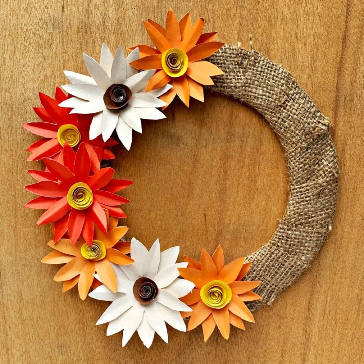 Homemade Paper Fall Flower Wreath