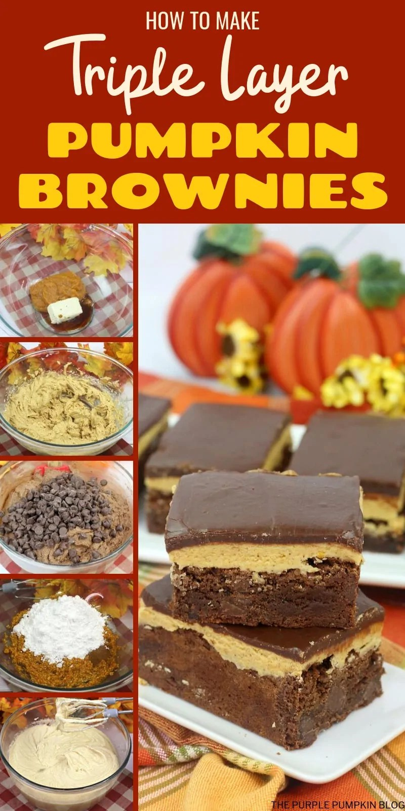 how to make triple layer pumpkin brownies