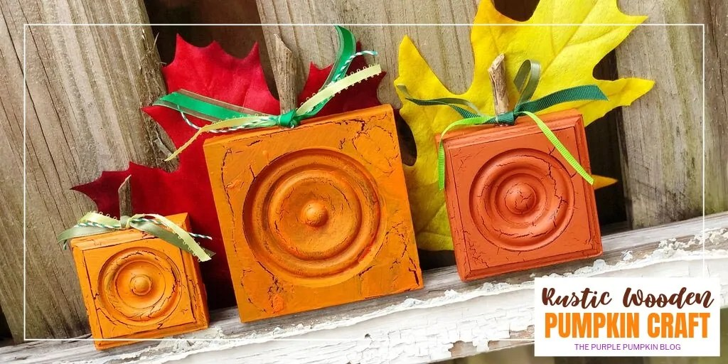 Learn how to make rustic wooden pumpkins using new wooden blocks from the DIY home improvement store. They are given the vintage look with acrylic paint and crackle medium and will look gorgeous sat on the mantle, shelf, or even outside your front door on a porch or step. #rusticwoodenpumpkins #pumpkincrafts #thepurplepumpkinblog #autumncrafts #fallcrafts
